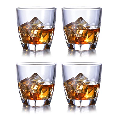 (Whiskey Glasses Set of 4 Heavy Base and Lead-Free Crystal for Whisky Vodka Bourbon Scotch Liquor Cocktails 10 oz Old Fashioned Glass by JASVIC)
