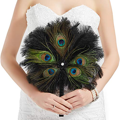 BABEYOND Vintage Bridal Feather Bouquet 1920s Ostrich Feather Fan Crystal Bridesmaid Bouquet 20s Gatsby Wedding Bouquet Flapper Accessories (Peacock)