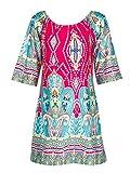 Choies Women's Off Shoulder Geo Paisly Print Flare Sleeve Shift Mini Beach Dress