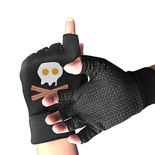Knit Crossbones (Wooun-6 Hunting Shockproof Eggs Bacon Skull Crossbones Half Finger Short Gloves Outdoor Sports Working Gloves)