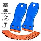 Plastic Razor Blade Scraper, 2 Pack Scraper Tool with 100 Pack Plastic Razor Blades Decal Sticker Remover Scraper Tool for Auto Window Tint Vinyl Tool Application, Easily Remove (Blue)