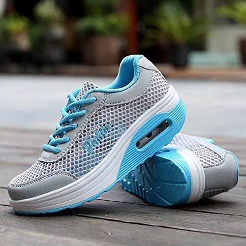 XMeden Women's Mesh Lace Up Sport Running Shoes Rx1317 Blue kb1k3S