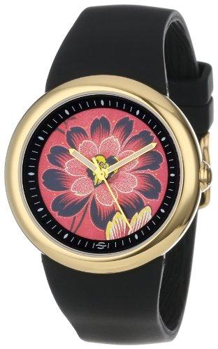 PeaceLove Reloj unisex F36G-PLFR-B Zotos Art Dial en tono dorado con correa de silicona negra