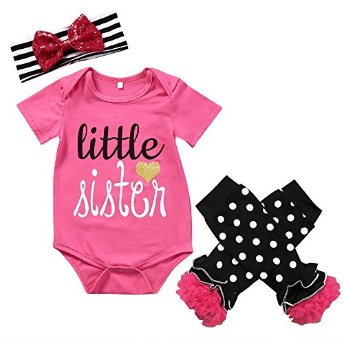 3PCS Newborn Baby Girls Infant Sister Romper + Leggings +Headband Outfit Set (70 (0-6 Month)) (Show Girl Outfits)