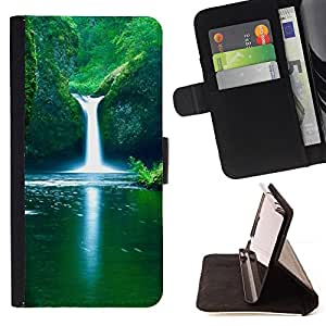 For Apple (5.5 inches!!!) iPhone 6+ Plus / 6S+ Plus,S-type Cascada fresca de primavera- Dibujo PU billetera de cuero Funda Case Caso de la piel de la bolsa protectora