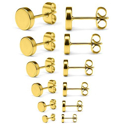 - SCERRING 6 Pairs 20G Stainless Steel Flat Top Stud Earrings Set for Men Women Barbell Stud Earrings Assorted Sizes 3-8mm - Gold