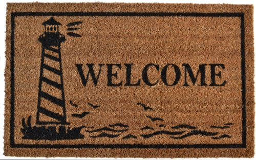 30 Lighthouse - Imports Décor Vinyl Backed Coir Doormat, Guiding Light, 18 by 30-Inch