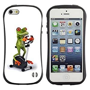 Fuerte Suave TPU GEL Caso Carcasa de Protección Funda para Apple Iphone 5 / 5S / Business Style Gym Sports Frog White Stationary Bicycle