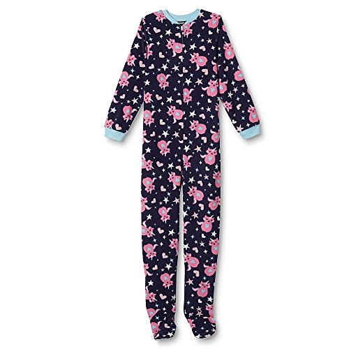 Joe Boxer Girls' Footed Sleeper Pajamas - Unicorn Cat & Stars XS 4-5