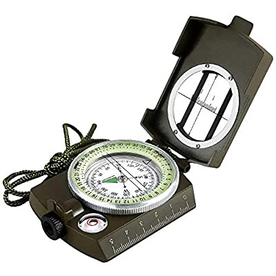 Eyeskey Multifunctional Military Army Aluminum Alloy Compass with Map Measurer Distance Calculator Great for Hiking, Camping, Motoring, Boating, Backpacking