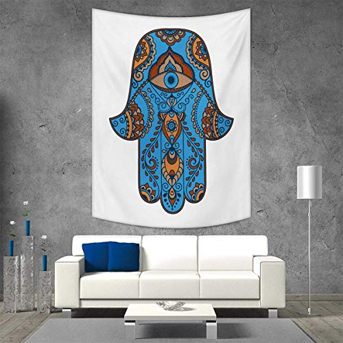 Brown Needlepoint Paisley (Hamsa Vertical Version Tapestry Sign of Protection with Curly Paisley Pattern Vintage Amulet All Seeing Eye Throw, Bed, Tapestry, or Yoga Blanket 40W x 60L INCH Blue Brown Vermilion)