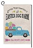 BLKWHT Easter Egg Farm Truck Garden Flag Vertical Double Sided 12.5 x 18 Inch Farmhouse Spring Yard Decor