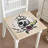 Memory Foam Chair Pads Skull Mexican Folk Art Inspired Skeleton with Crown and Rose Halloween Cushion Perfect Indoor/Outdoor 26''x26''x2pcs