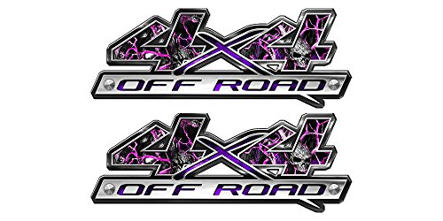 - Speed Demon Hot Rod Shop 4x4 Off Road Decals ~ (Set of 2) Pink Skulls Camouflage 4WD Truck Stickers BLO4