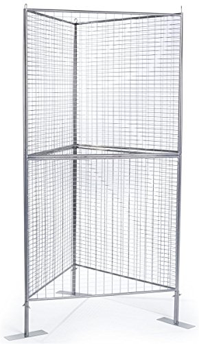 Displays2go Gridwall Art Panels, Iron Mesh Build, Double-Tiered Design – Silver Finish (Triangular Display)