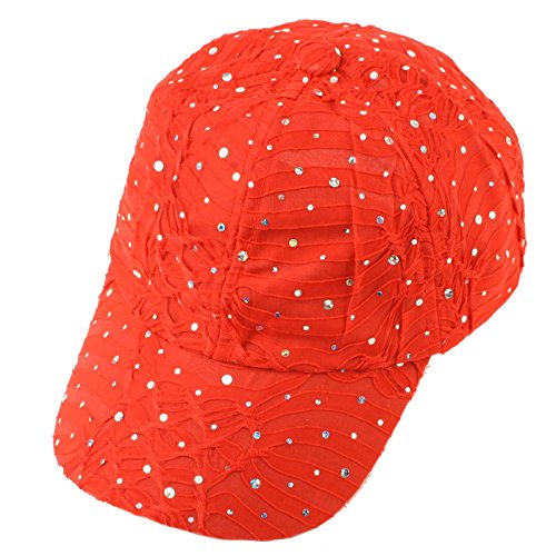 Ladies Sparkle Shiny Flashy Dance Party Baseball Hat Ball Cap Adjustable - Ball Red Shiny