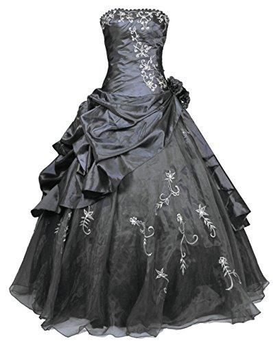 Vantexi Damen Stickerei Taft Formales Abschlussball Kleid Ballkleid ...