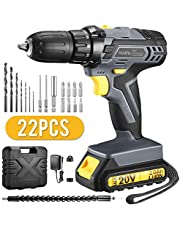 Cordless Drill, Holife 20V Electric Drill Driver, 2000mAh Powerful Lithium-ion Battery, 18+1 Position 13mm Keyless Chuck, 2-Speed Driver with LED, 35N.m. Max Torque, Tool Bag, for DIY & Work