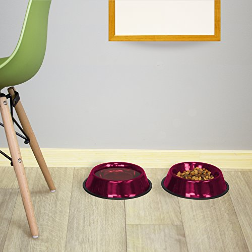 Image of Platinum Pets Non-Embossed Non-Tip Stainless Steel Cat/Dog Bowl