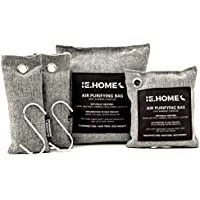 IE.HOME 100% All Natural Activated Bamboo Charcoal Air Purifying Deodorizer Bags 4 Pack Set | 3 Sizes (500g, 200g, 75g x 2) + BONUS S Shaped Hooks x 2 + Cotton Fiber Cord