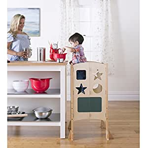 Guidecraft Kids Kitchen Helper: Natural Adjustable Hight Kitchen Step Stool For Toddlers (Supports Up To 125lbs)