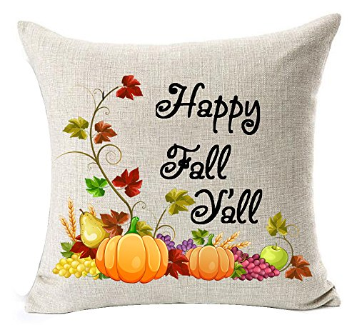 Season's Greetings Pumpkin Maple Leaf Wreath Happy Fall Y'all Letters Happy Thanksgiving Halloween New Home Decorative Cotton Linen Throw Pillow Case Cushion Cover Square 18 X 18 Inches