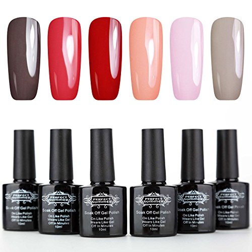 Perfect Summer UV/LED Gel Nail Polish Kit - 6 Colors Soak Off Nail Polish,8ml Each #07