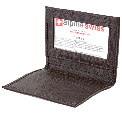 Mens Two Fold Wallet (alpine swiss Men's Thin Front Pocket Wallet Business Card Case 2 ID Window 6 Slot, Crosshatch Brown, One Size)