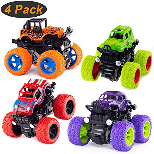 Monster Truck Toys, Toddler Toys Pull Back Cars, 4-Pack Pull Back Vehicles with Shockproof Spring and Textured Rubber Tires, Friction Powered Cars Toys for Boys Girls Toddler Aged 3 and Above 4-Pack