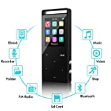 SUNNZO Bluetooth MP3 Player 16GB HiFi with FM Radio Lossless Movie Music Player 60 Hours Playback for Running Expandable up to 128GB