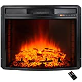 AKDY 28'' Black Electric Firebox Fireplace Heater Insert Curve Glass Panel W/Remote
