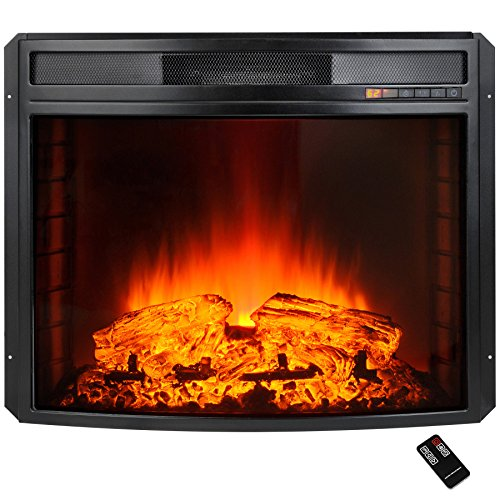 AKDY 28'' Black Electric Firebox Fireplace Heater Insert Curve Glass Panel W/Remote by AKDY