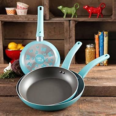 The Pioneer Woman Butterfly 3-Piece Non-Stick Fry Pan Set with Butterfly Logo, Turquoise