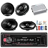 Kenwood KDC118 Car Radio USB AUX CD Player Receiver - Bundle Combo With 2x 250W 6x8'' inch 2-Way Coaxial Car Audio Speakers + 2x 6.5-Inch Speakers + 4-Channel Amplifier + Amp Kit
