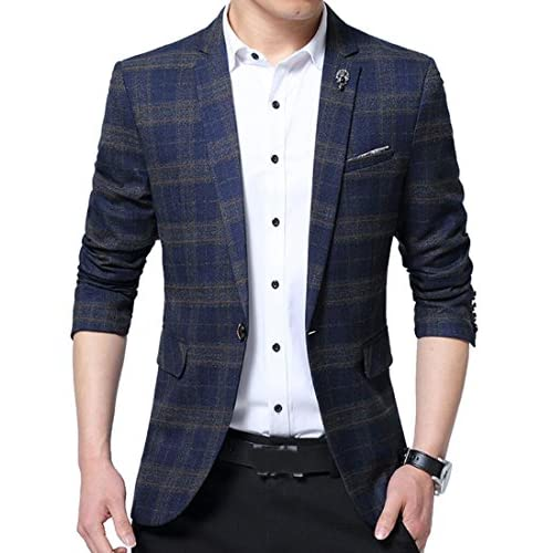 0aed80c8960 hot sale OULIU Mens Plaid One Button Blazer Sport Coat Business Suit Jacket