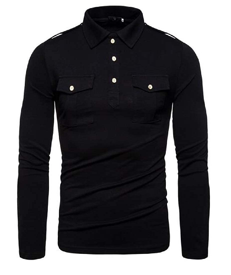 YYear Mens Pure Color Casual Long Sleeve Relaxed Fit Lapel T-Shirt Tee
