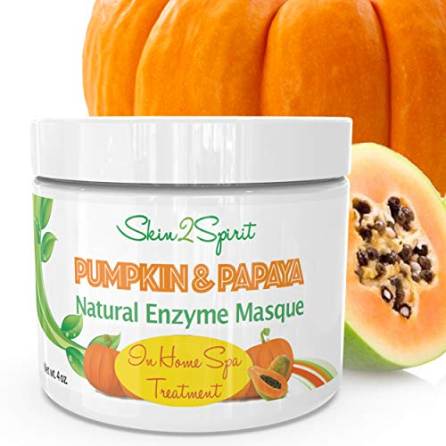 Pumpkin and Papaya Natural Enzyme Face Mask | Gently Exfoliate & Moisturize Face | Natural and Organic Ingredients | Vegan | Cruelty Free | Spa in a Jar | Large 4 Oz Jar!
