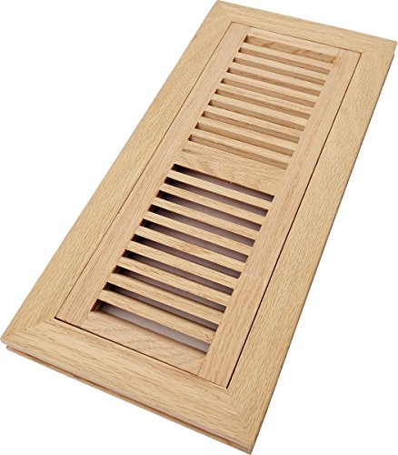 Homewell Red Oak Floor Register Vent, Flush Mount With Frame, 4 Inch x 12 Inch, Unfinished