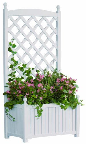 DMC Products Lexington 28-Inch Rectangle Solid Wood Trellis Planter White from DMC Products