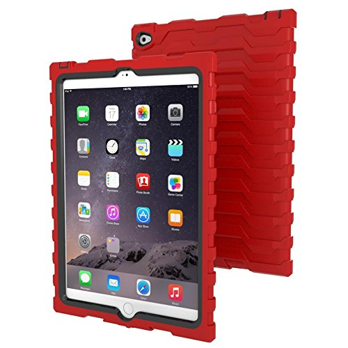 Apple iPad Air 2 Red Shock Drop Hard Candy Cases Silicone Rugged Shock Absorbing Protective Dual Layer Cover Case
