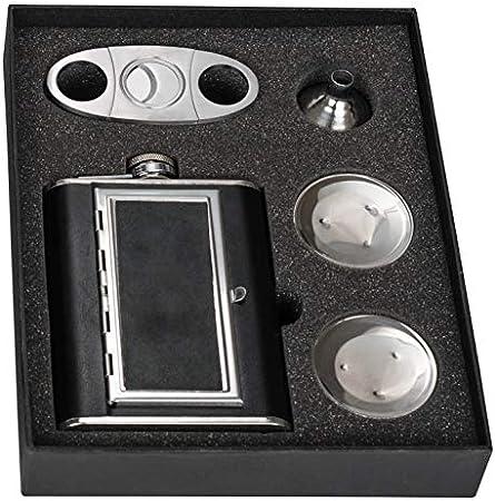 Perfecto Pregame Flask Set de regalo con vasos de chupito plegable y doble hoja guillotina cortador de puros y embudo–Awesome Groomsmen Flask Set