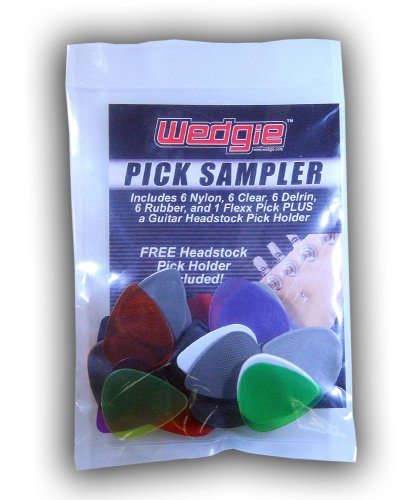 (Wedgie WPSP-1 Guitar Pick Sampler Pack and Headstock Pick Holder. 6 Nylon, 6 Clear, 6 Delrin, 6 Rubber, and 1 Flexx (25 Count))