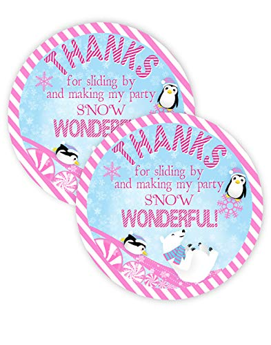 Wonderland Penguins - Winter Wonderland Pink Party Favor Stickers - 40 Favor Bag Stickers - Winter Wonderland Thank You Tags - Penguin Party Supplies - Winter Wonderland Party Decorations - Stickers Pink