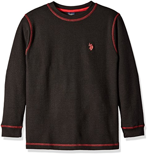 U.S. Polo Assn. Little Boys Long Sleeve Thermal Solid Pullover Shirt, Black, 5/6
