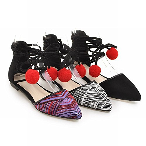 Voet Dames Mode Bloemen Lace Up Pompon Hakken Platte Sandalen Zwart