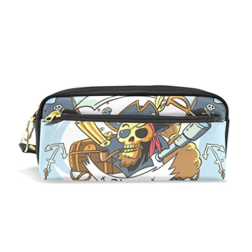 Hulahula Pirate Leather Student Pencil Case Cosmetic Bag Pen Makeup Pouch for Girl -
