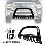 dodge ram push bar - Black Led Bull Bar for 2009-2017 Dodge Ram 1500 Front Bumper Grille Guard with Integrated 72W Cree Led light Bar