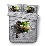 KTLRR Dinosaur Bedding Set with Zipper,Through the Wall Velociraptor Duvet Cover with Pillowcase Set,Kids Teens Children Home Bedroom Decoration,Microfiber Fabric,No Comforter (dinosaur, King 3pcs)