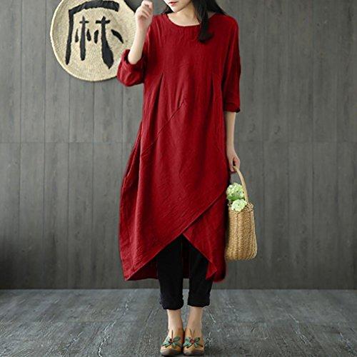 UONQD Woman Women Vintage Long Sleeve Tunic Baggy Long