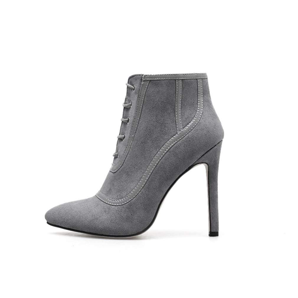 YAN Damenmode Schuhe Herbst Winter Wildleder Spitzen Stiletto Mode Riemchen Stiefeletten Nackte Stiefel Hochzeit Party & Abendkleid Schuhe